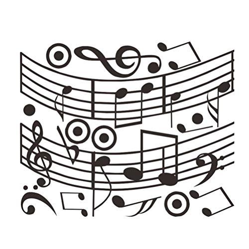 Garneck Muzieknoot Stickers Muziek Achtergrond Schil en Stok Muur Stickers Pvc Stickers Voor Slaapkamer Muziek Kamer Dans Kamer Kinderkamer Kunst Decor Zwart