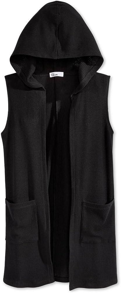 Epic Threads Girls Ribbed Hooded Sweater Vest deepblack L