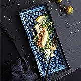 SBDLXY Platos de Cena de cerámica Platos de Ensalada Azules Platos de Servir Cuadrados Grandes Platos de Desayuno de Porcelana Creativa Servicio de Cena Vajilla moderna9.5 in
