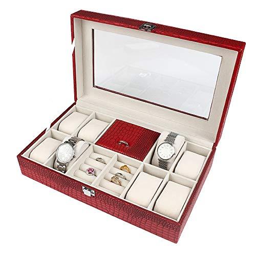 Schmuckschatulle Organizer Jewelry Box Schmuck Fall und Vitrine mit Spiegel für Ohrringe Uhr Halskette Jewels Armbänder Organizer Schmuck Aufbewahrungsbox, Mädchen und Frauen Geschenk ( Color : Red )