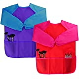 Dreampark 2 Pack Children Art Smock Kids Art Aprons with Waterproof Long Sleeve 3 Roomy Pockets, Ages 2-6, Red and Blue (Paints and Brushes not Included)