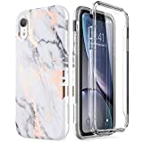 SURITCH Case for iPhone XR, [Built-in Screen Protector] Gold Marble Full-Body Protection Shockproof Rugged Bumper Protective Cover Compatible with iPhone XR 6.1 Inch (Gold Marble)