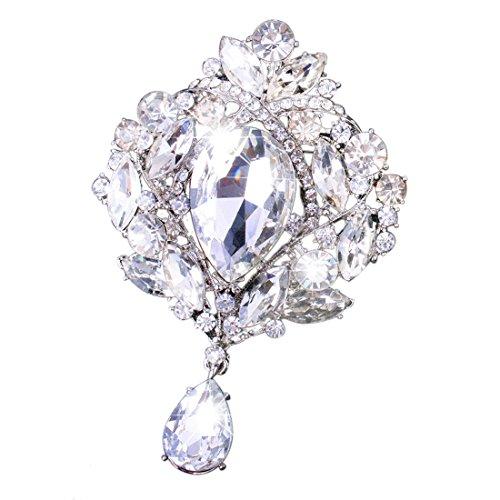 Yilanair Wedding Bridal Big Crystal Rhinestone Bouquet Brooch Pin for Women (Silver)