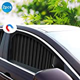 Ovege Car Side Window Sun Shade Car Curtain Pleated Silky Suction Magnetic (Black-Opaque, Front Seat 2pcs)