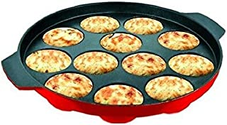 AppamPatra Paniyaram Nonstick cookware Appam Patra with Stainless Steel Without Lid 12 Cavity (Red)
