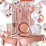 iZoeL Vaisselle Jetable Or Rose Nappe Rideau Bruant Ballon Assiettes Serviettes Papier Tasses Papier Paille Décoration fête Mariage Anniversaire Or Rose 16 invités