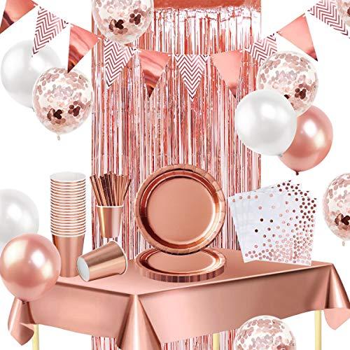 iZoeL 16 invités Vaisselle Jetable Or Rose Nappe Rideau Bruant Ballon Assiettes Serviettes Papier Tasses Papier Paille Décoration fête Mariage Anniversaire Or Rose