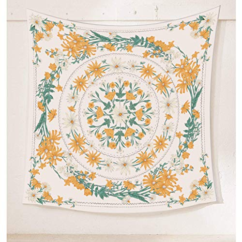 Simpkeely Mandala Clara Floral Medallion Tapestry, Sketched Flower Plant Boho Wall Hanging, Bohemian Hippie Tapestries for Bedroom Living Room Dorm Home Décor 59.1 x 59.1 Inches (Yellow)