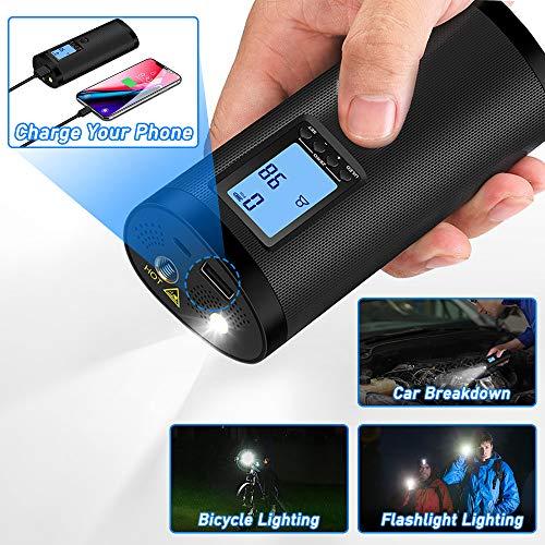 VEEAPE Elektrische Digitale Reifenpumpe mit 2000mAh Akku, 120PSI Fahrradluftpumpe Kompressor mit LCD-Bildschirm für Auto, Fahrrad, Motorrad, Basketball, Football usw. Als Taschenlampe und Powerbank. - 6