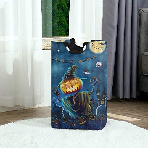 ZOANEN Wäschesack,Halloween Kürbis Laterne Aquarell Nacht Mond Fledermaus Magie Hexe Spukhaus Geist Vogelscheuche,Großer faltbarer Wäschekorb,zusammenklappbarer Wäschekorb
