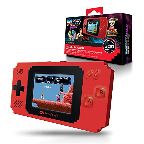 My Arcade Pixel Player Handheld Game Console: 300 Retro Style Games Plus 8 Data East Hits, Battery or Micro USB Powered, Color Display, AV Out Jack for TV, Speaker, Volume Control, Headphone Jack