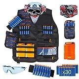 LVHERO Veste de Rangement Gilet Tactique Enfant Trousse pour Nerf Guns N-Strike Elite Series avec fléchettes, étui à fléchettes, Bracelet, Masque Facial, chargeurs et Lunettes