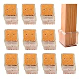 BelleStyle Chair Leg Caps,20Pcs Square Silicone Furniture Feet Pads Table Cover Floor Scratches Protectors for 30-35MM Chair Cap - Transparent