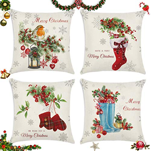 Sunshine smile 4 pcs Fundas navideñas para Cojines,Fundas para Cojines de Sofa,Funda de Almohada de Navidad,Funda de Almohada decoración para hogar,Funda de Almohada Decorativa (C)