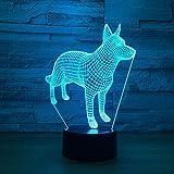 Lampada da comodino 3D Lampada da tavolo a LED per cani con diapositiva 3D Luce notturna USB 3D 7 tipi di luce per diapositive USB 3D, usata per le luci della decorazione del soggiorno