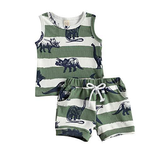 Conjunto de Ropa Infantil para Bebé Niño 2 Piezas Juego Top Chaleco/Camiseta de Manga Corta + Pantalones Cortos Traje Verano Casual con Estampado de Dinosaurios (Verde, 0-3 Meses)
