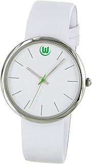 VfL Wolfsburg Damenuhr, Uhr weiß in Geschenkbox - Plus Lesezeichen Wir lieben Fußball