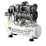 STAHLWERK Kompressor Druckluft Flüsterkompressor ST 110 pro - 10L Stahlkessel, 10 Bar, ölfrei, 210 L/Min, sehr leise, sehr kompakt, leichteste und stärkste Kompressor in seiner Gewichtsklasse!