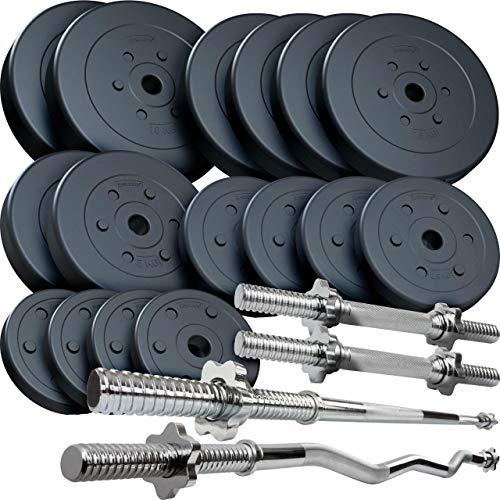 ScSPORTS® 96 kg Kunststoff Hantelset mit 1x Langhantel-Stange, 1x SZ Curlstange und 2X Kurzhanteln mit Gewinde, Kombiset inkl. 18 Hantelscheiben Gewichte
