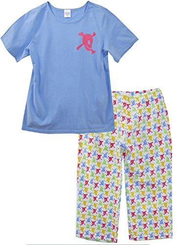 AdoniaMode Damen Capri Pyjama Top mit Short Nachtwäsche Sleepware Schlafanzug nightware Kurz Rundhals Kurz-Arm Pirat Weiß/Bunt Gr.36/38