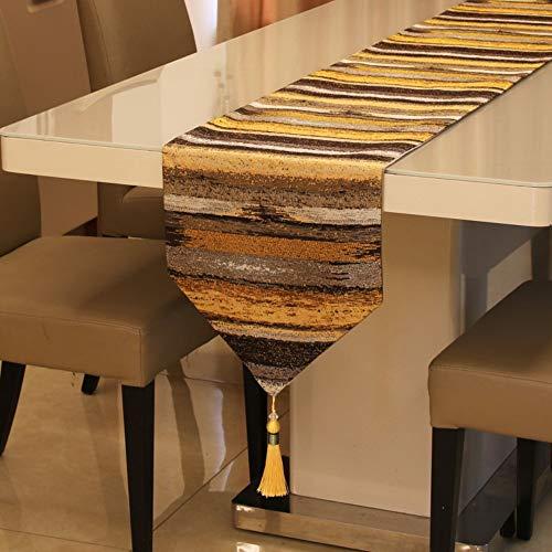 Telihome Tischläufer Farbverlauf Farbe Tischdecke Stickkunst Quaste Bettfahne gelb 32x210cm