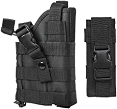 M1SURPLUS MOLLE Style Tactical Black Pistol Holster with Free Magazine Storage Pouch - The Holster Fits SIG P320 220 229 226 250 270 1911 SP2022 Mosquito Springfield XD Full Size 9mm .45 .45 Pistols