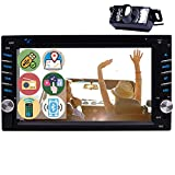 6.2' Touch Screen Car Stereo Double Din Car DVD Player GPS Navigation 2 Din in Dash Bluetooth FM/AM RDS Radio Receiver 1080P Video CD/TF/USB/AUX-in/Subwoofer/SWC+Remote Control-Free Rear View Camera