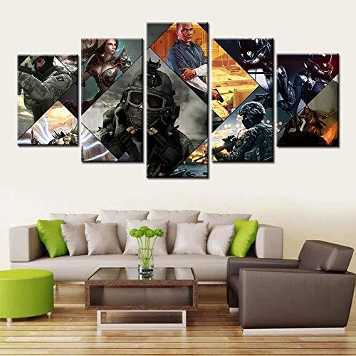 ELSFK - Cuadros Modernos Impresión de Imagen Artística Digitalizada | Lienzo Decorativo para Salón o Dormitorio | Juego de GTA V | 5 Piezas 150x80cm