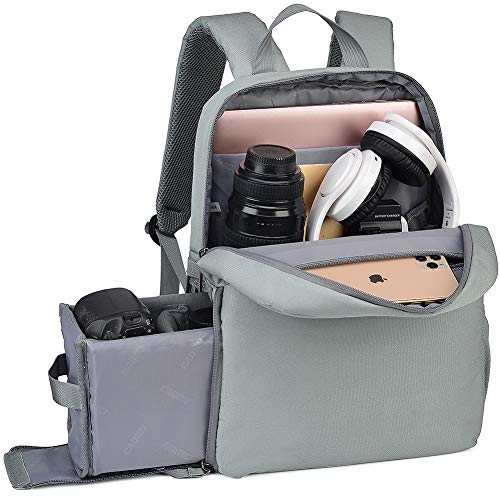 Camera Rugzak, DSLR tas voor Canon Nikon Sony spiegelloos en accessoires, Anti diefstal fotografie Case met USB opladen poort tot laptop (15inch, L4 Grey)