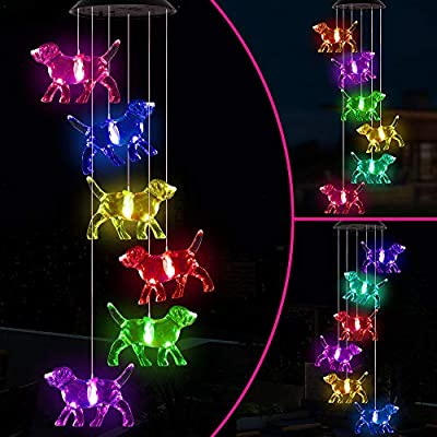 Changing Color Dog Solar Wind Chimes Portable Waterproof Mobile Solar Powered Puppy Windchime Light Outdoor Hanging Romantic LED Solar Dogs Wind Chime for Festival,Home, Yard, Lawn, Patio,Garden Decor
