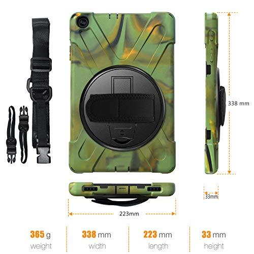 Gerutek Hülle für Samsung Galaxy Tab A T510 / T515 (10,1 Zoll), Stoßfeste Robust Panzerhülle mit Drehbar Stände, Handschlaufe, Schultergurt Schutzhülle für Samsung Tab A 10.1 2019 T510 / T515, Camo