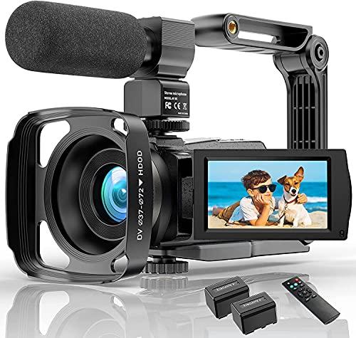 Videocamera con microfono Videocamera Vlogging da 48 MP per YouTube Zoom 16X 3.0'Touchscreen Visione notturna IR Wi-Fi Videocamere Vlog Webcam con stabilizzatore manuale Telecomando