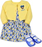 Disney Minnie Mouse Baby Girls Dress Jacket and Shoes Gift Set Yellow Daisy 12 Months