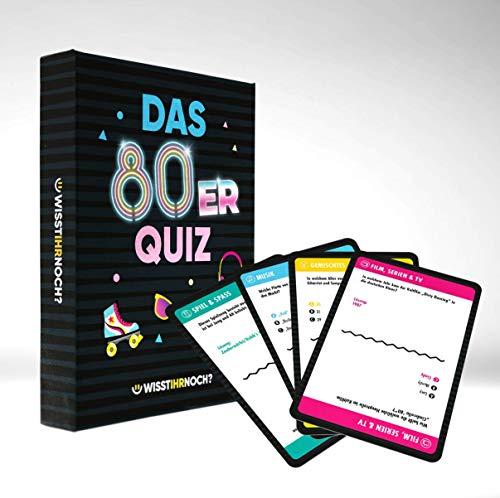 Wisst Ihr Noch? Das 80er Jahre Quiz als Kartenspiel mit 200 Fragen in 4 Kategorien. Ratespaß für Spieleabende, Kneipenquiz, Gesellschaftsspiel