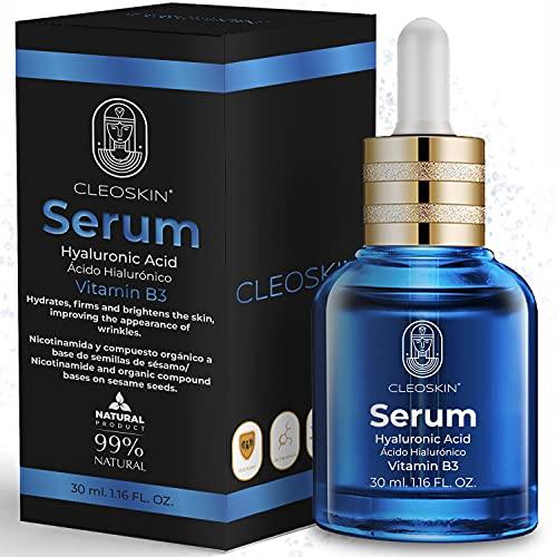 SERUM ACIDO HIALURONICO + Vitamina B3, Anti-edad, Anti-arrugas, Rehidratante, Reafirmante, lifting, Antienvejecimiento, Fortalecimiento de la piel, Contorno de ojos, Antioxidante, Rejuvenecedor para Mujeres y Hombres, CLEOSKIN