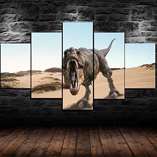 Cuadro Sobre Lienzo 5 Piezas Impresión En Lienzo Ancho: 150Cm, Altura: 100Cm Listo Para Colgar-Tiranosaurio Dinosaurios T-Rex En Un Marco