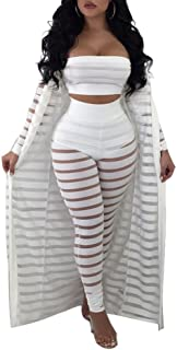 Ophestin Women Sheer Mesh Tube Top Long Pants Bodycon 3 Piece Cardigan Outfits Jumpsuits Set