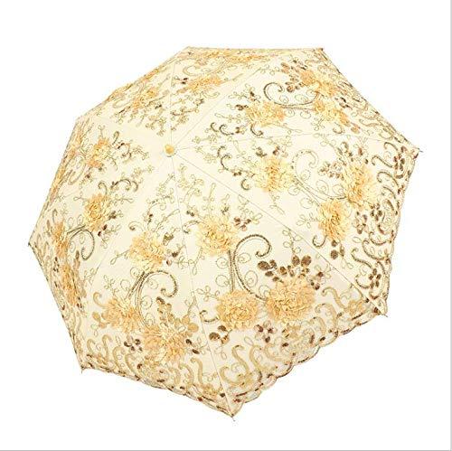 JIN MOON Sonnenschirm Faltbarer winddichter Spitzenstickschirm 2-Fach goldgelber Regenschirm