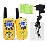 2x Kids smart Walkie Talkies inkl. AKKU Wiederaufladbare T-388 Funkgerät für Mädchen Jungen Kinder (Gelb)
