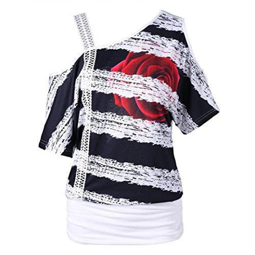 TITIU Mode Damen Casual Kurzarm Skew Neck Trägerlosen Blumendruck T-Shirt Tops Oberteil Bluse Tees(Weiß,M)