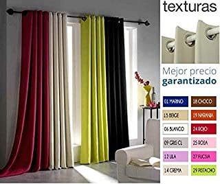 TEXTURAS HOME Secret - Cortina con Ojales Blackout Efecto FOSCURIT 260x140 cms (Blanco)