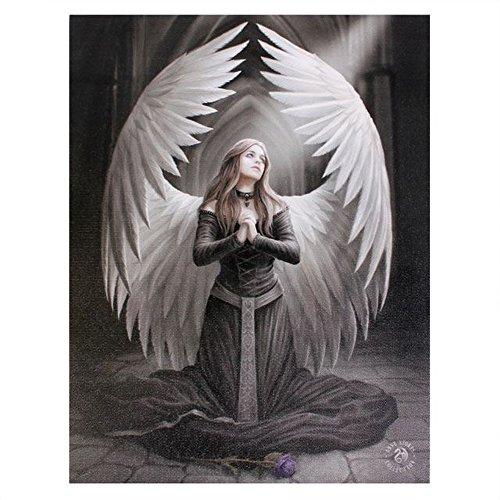 Oración por los caídos (Prayer For The Fallen) - un ángel gótico lienzo -diseño fantástico por artista Anne Stokes –arrodillarse y rezar en placa de la pared del marcodel cuadro / arte de pared