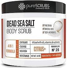 Premium Organic Body Scrub Set - Large 16oz CITRUS+ BODY SCRUB - Pure Dead Sea Salt Infused with Organic Essential Oils & Nutrients + FREE Wooden Spoon, Loofah & Mini Organic Exfoliating Bar Soap