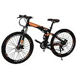 "Eurobike OBK G7 Folding Bike 21 Speed Full Suspension Mountain Bicycle 27.5"" Daul Disc Brake Mens Bikes Foldable Frame (Orange 3 spoke wheels)"