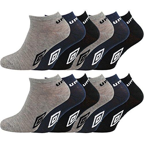 Umbro - 12 pares de calcetines tobilleros deportivos para hombre, Multicolor, 39-45 EU (6-11 UK)