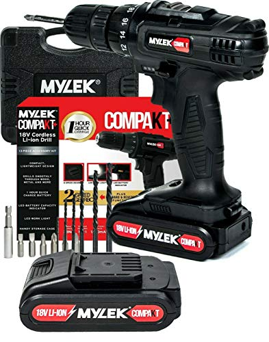 MYLEK 18V Cordless Drill Driver Electric, 1300 mAh Li-Ion Battery with 1 Hour Quick Charge, 2 Speed, Spare Battery, Carry Case and 13 Piece Accessory Kit