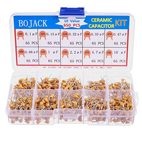 BOJACK 10 Type Values 650Pcs Ceramic Capacitor Assortment Kit Capacitors from 0.1uf/100 nF to 10 uF in a Box