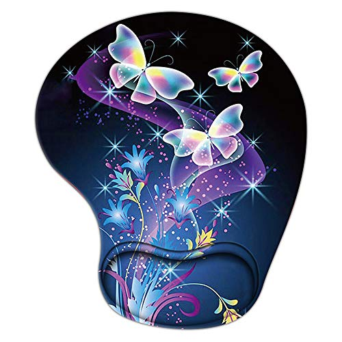 Animal Ergonomic Gaming Mouse Pad with Wrist Support, Pain Relief Non-Slip Rubber Base Mousepad for Laptop, Cute Butterfly Mouse Pads as Home Office Desk Accessories Decor or Ideal Gift