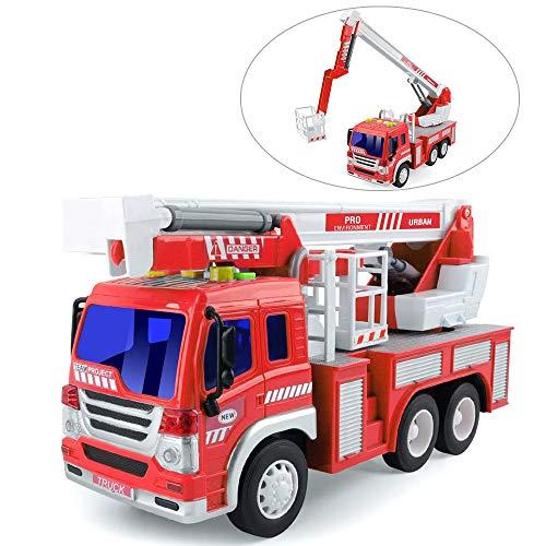 GizmoVine Feuerwehrauto, Reibungskraft Spielzeug Auto, Feuerwehr Spielzeug, mit Leiter, Licht & Sound, Baufahrzeug für Jungen Mädchen 4, 3, 2 Jahre Zurückziehen