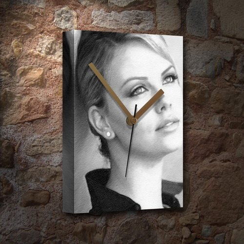 CHARLIZE THERON - Canvas Clock (A4 - Signed by the Artist) #js002 by Canvas Clocks (A4) - Actresses